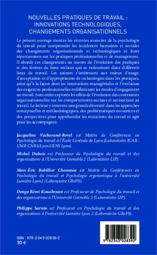 4eme Nouvelles pratiques de travail : innovations technologiques, changements organisationnels