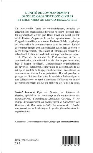 4eme L'unité de commandement dans les organisations civiles et militaires au Congo-Brazzaville