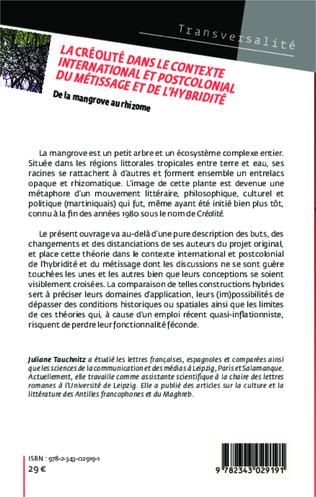 4eme La créolité dans le contexte international et postcolonial du métissage et de l'hybridité