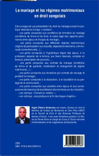 4eme Le mariage et les régimes matrimoniaux en droit congolais