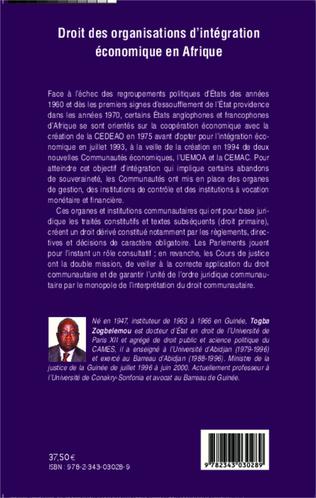 4eme Droit des organisations d'intégration économique en Afrique