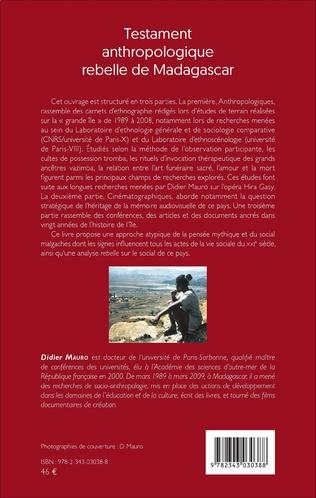 4eme Testament anthropologique rebelle de Madagascar