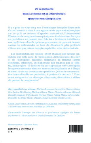 4eme De la singularité dans la communication interculturelle : approches transdisciplinaires
