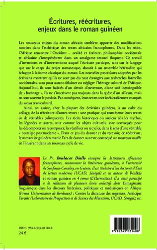 4eme Ecritures, réécritures, enjeux dans le roman guinéen