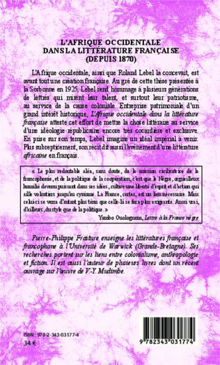 4eme L'Afrique occidentale dans la littérature française (depuis 1870)