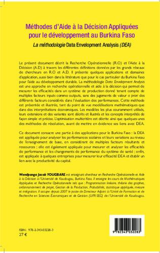 4eme Méthodes d'Aide à la Décision Appliquées pour le développement au Burkina Faso