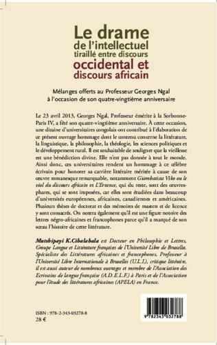 4eme Le drame de l'intellectuel tiraillé entre discours occidental et discours africain