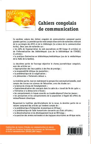 4eme Cahiers congolais de communication vol. XI