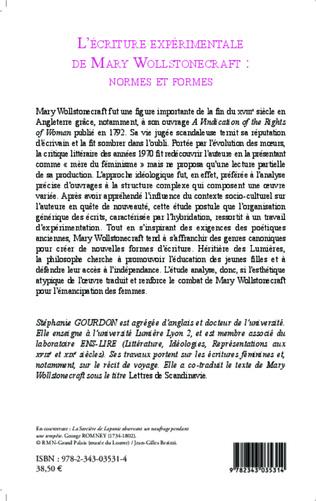 4eme L'écriture expérimentale de Mary Wollstonecraft : normes et formes