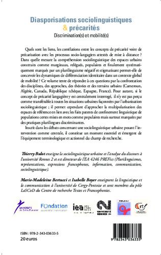 4eme Diasporisations sociolinguistiques & précarités