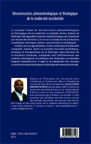 4eme Déconstruction phénoménologique et théologique de la modernité occidentale