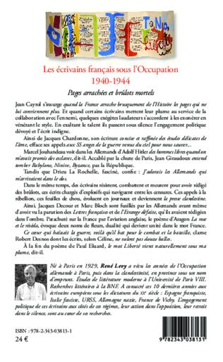 4eme Les écrivains français sous l'Occupation 1940-1944