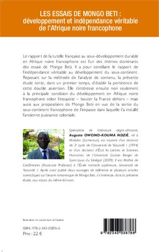 4eme Les essais de Mongo Beti : développement et indépendance véritable de l'Afrique noire francophone