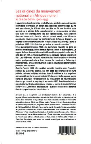 4eme Les origines du mouvement national en Afrique noire : le cas du Bénin 1900-1939