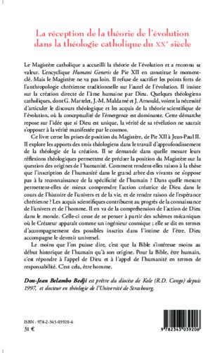 4eme La réception de la théorie de l'évolution dans la théologie catholique du XX e siècle