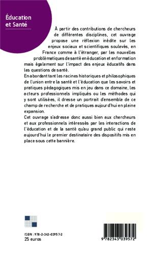 4eme PARTIE II L'ÉDUCATION ET LA SANTÉ À L'ÉCOLE : SAVOIRS ET PÉDAGOGIES NOUVELLES