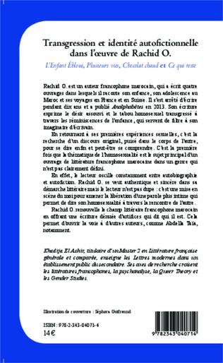 4eme Transgression et identité autofictionnelle dans l'oeuvre de Rachid O.