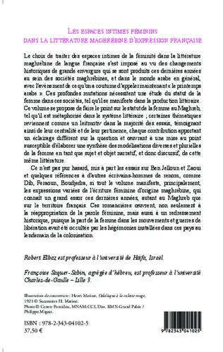 4eme Les espaces intimes féminins dans la littérature maghrébine d'expression française