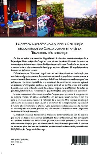 4eme La gestion macroéconomique de la République démocratique du Congo durant et après
