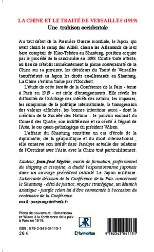 4eme La Chine et le traité de versailles (1919)