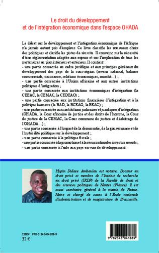 4eme Le droit du développement et de l'intégration économique dans l'espace OHADA