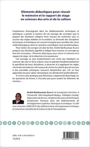 4eme Eléments didactiques pour réussir le mémoire et le rapport de stage en sciences des arts et de la culture