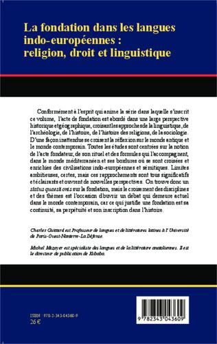 4eme La fondation dans les langues indo-européennes : religion, droit et linguistique