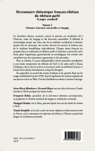 4eme Dictionnaire thématique français-tibétain du tibétain parlé (Langue standard)