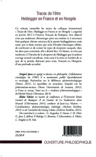 4eme Traces de l'être Heidegger en France et en Hongrie
