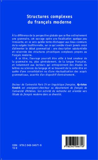 4eme Structures complexes du français moderne