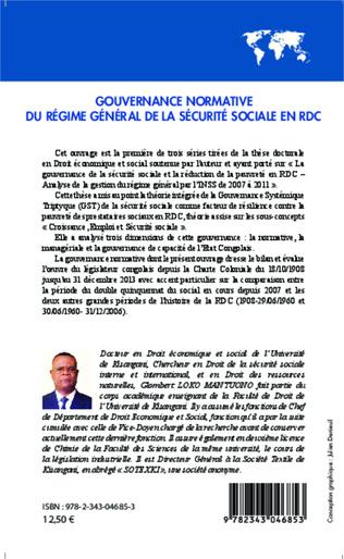 4eme Gouvernance normative du régime général de la sécurité sociale en RDC