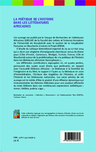4eme La poétique de l'histoire dans les littératures africaines