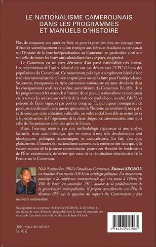 4eme Le nationalisme camerounais dans les programmes et manuels d'histoire
