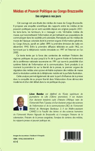 4eme Médias et pouvoir politique au Congo Brazzaville
