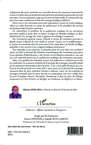 4eme Contribution à l'étude juridique des concessions portuaires