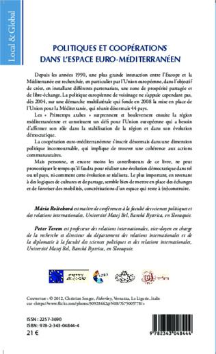 4eme Politiques et coopérations dans l'espace euro-méditerranéen