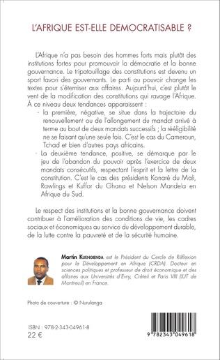 4eme L'Afrique est-elle démocratisable ? Constitution, sécurité et bonne gouvernance