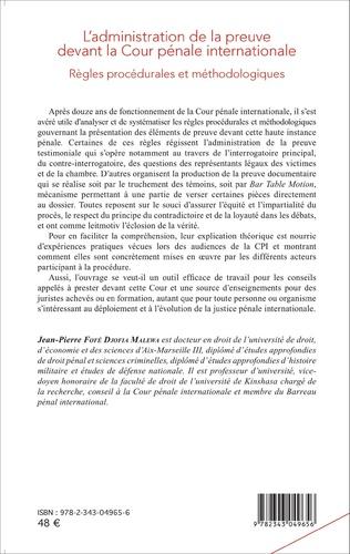 4eme L'administration de la preuve devant la Cour pénale internationale