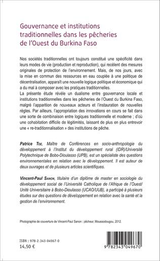 4eme Gouvernance et institutions traditionnelles dans les pêcheries de l'Ouest du Burkina Faso