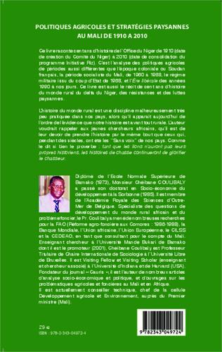 4eme Politiques agricoles et stratégies paysannes au Mali de 1910 à 2010