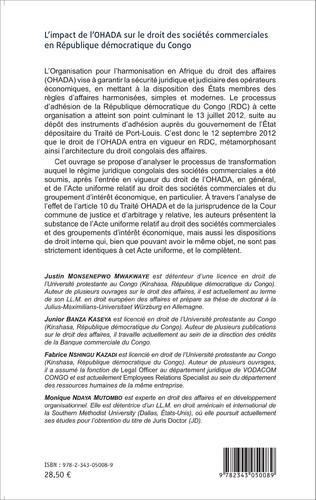 4eme L'impact de l'OHADA sur le droit des sociétés commerciales en République démocratique du Congo