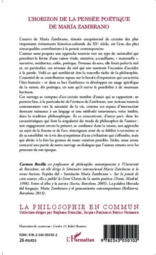 4eme L'Horizon de la pensée poétique de Maria Zambrano