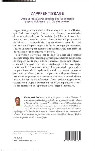 4eme L'apprentissage Une approche psychosociale des fondements psychologiques et du rôle des acteurs