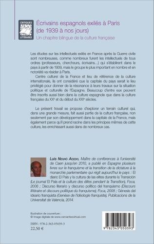 4eme Ecrivains espagnols exilés à Paris (de 1939 à nos jours)