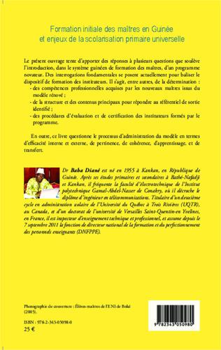 4eme Formation initiale des maîtres en Guinée et enjeux de la scolarisation primaire universelle
