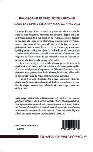 4eme Philosophie et spécificité africaine dans <em>la revue philosophique de Kinshasa</em>