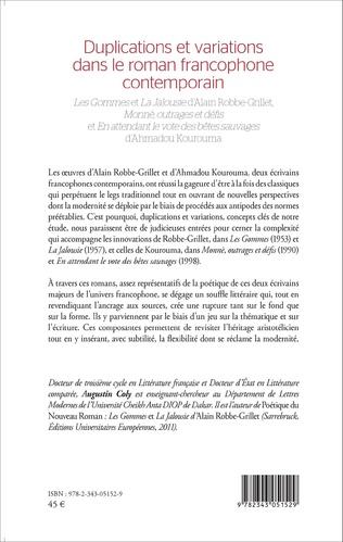 4eme Duplications et variations dans le roman francophone contemporain