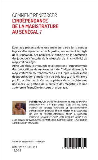 4eme Comment renforcer l'indépendance de la magistrature au Sénégal ?