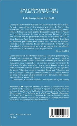 4eme École et démocratie en Italie : de l'unité à la fin du XXème siècle