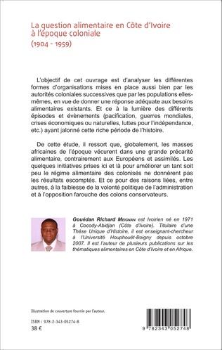 4eme La question alimentaire en Côte d'Ivoire à l'époque coloniale